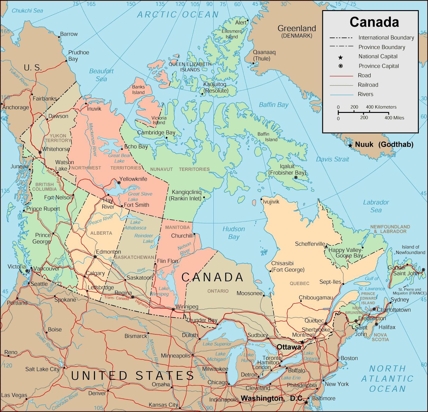 Kanada Kartta Kaupungit Kartta Kanadan Ja Kaupungit Pohjois