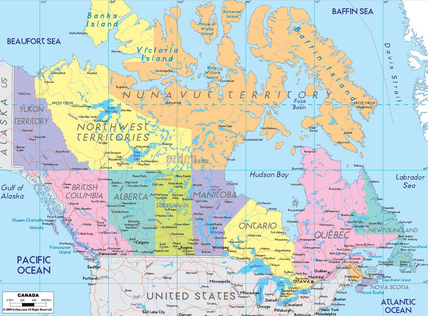 Kanadan Kaupungit Kartta Kartta Kanadan Osoittaa Kaupungeissa
