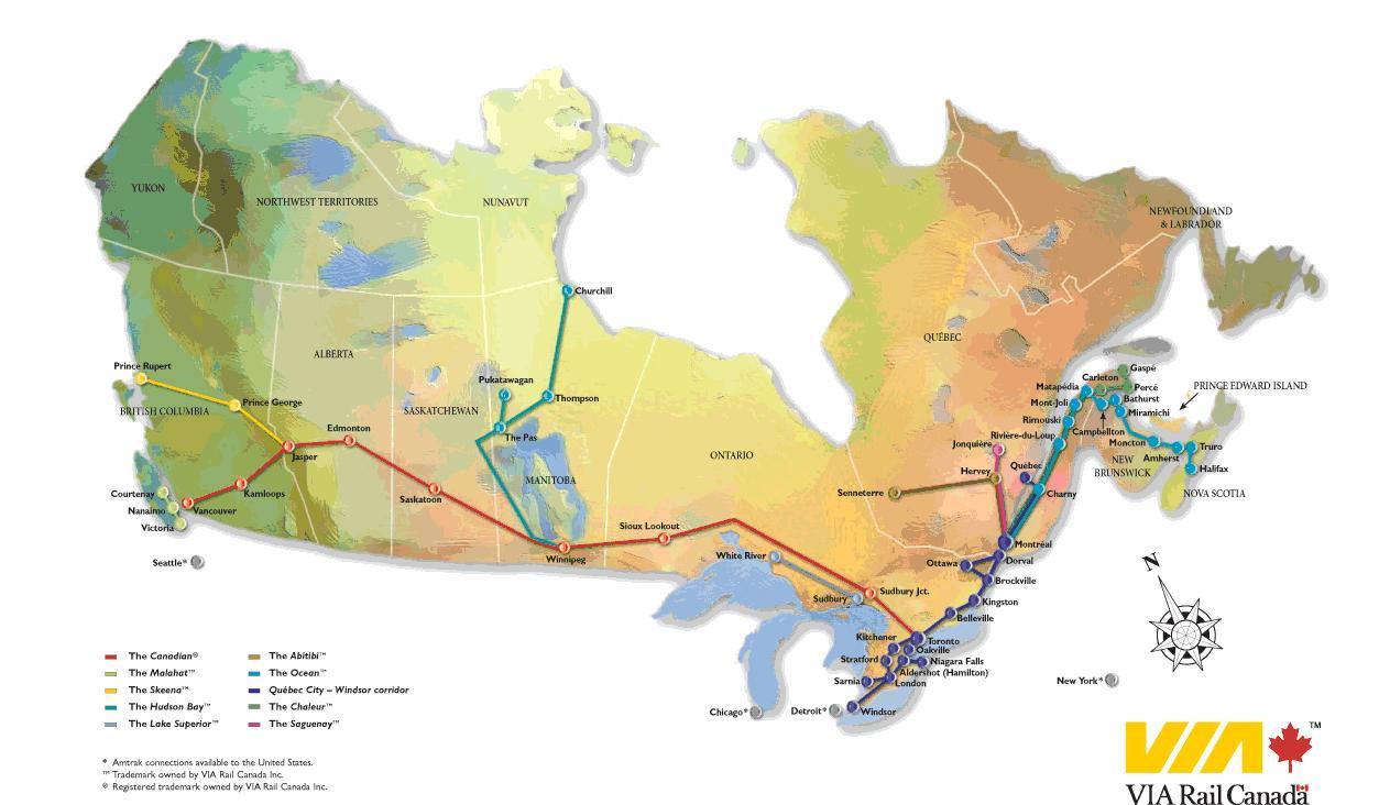 Kanadan Rail Map Kanada Rataverkon Kartta Pohjois Amerikka
