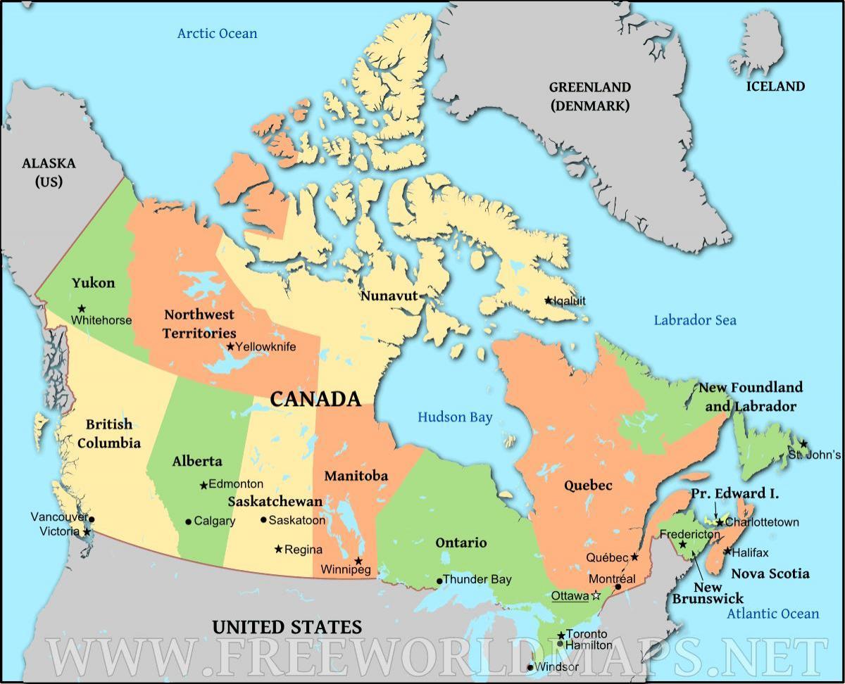 Kanada Kartta Hd Kanada Hd Kartta Pohjois Amerikka Amerikka