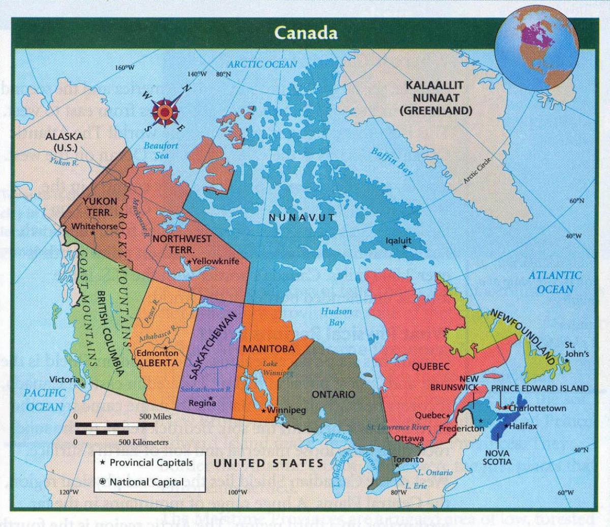 Kartta Kanadan Kanssa Suuret Kaupungit Kartta Kanadan Ja