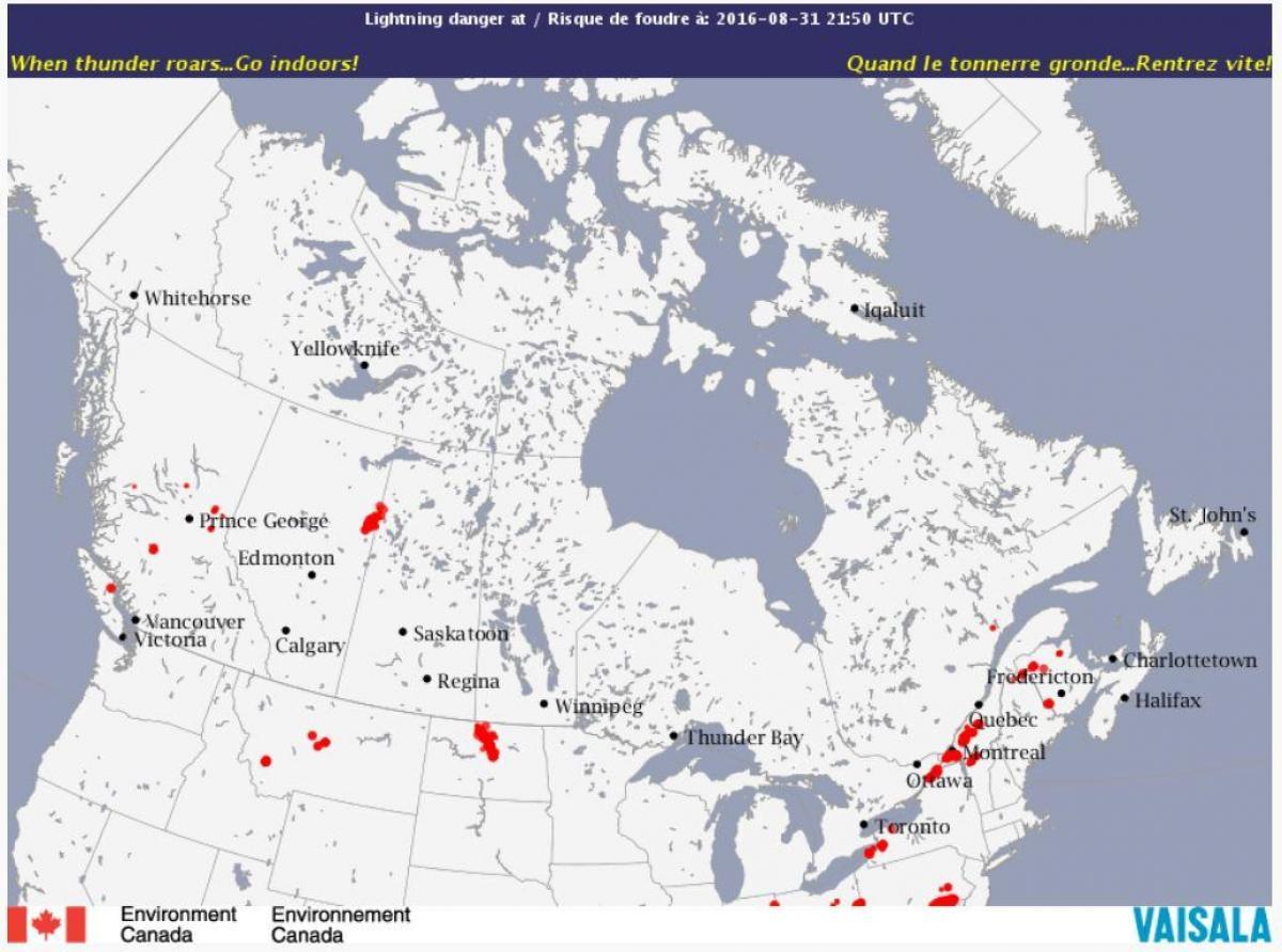 Salama Kartta Kanada Kartta Kanadan Lightning Pohjois Amerikka