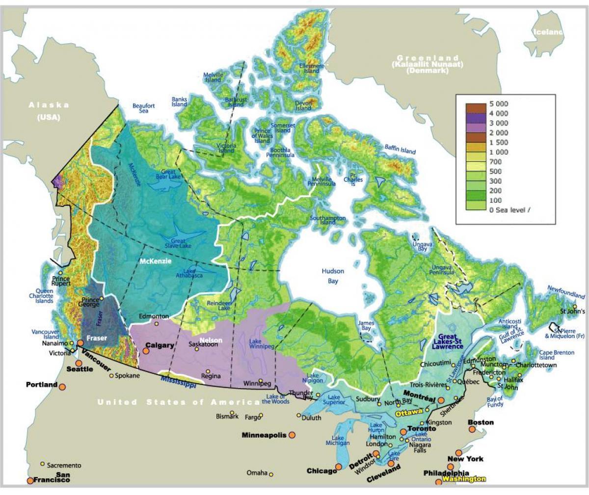 Salaojitus Kartta Kanada Kartta Kanadan Salaojitus Pohjois
