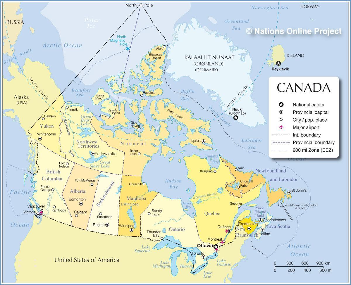 Suurissa Kaupungeissa Kanadassa Kartta Kanada Tarkeimmat